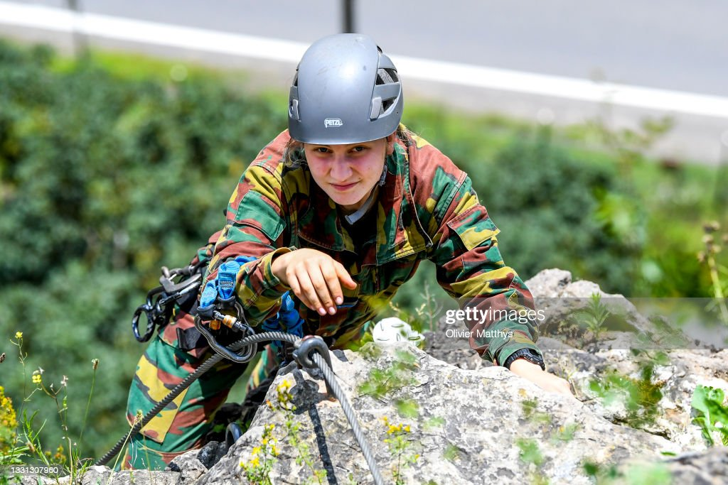HRH Princess Elisabeth Of Belgium Completes Internship Commando Training Center In Marche-Les-Dames : News Photo