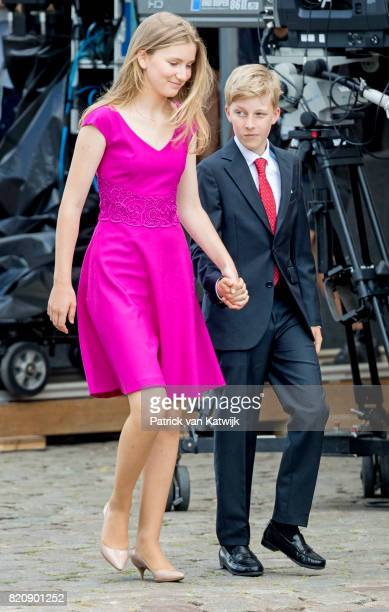 Princess Elisabeth of Belgium and Prince Emmanuel of Belgium Belgium attend the military parade on the occasion of the Belgian National Day in the...
