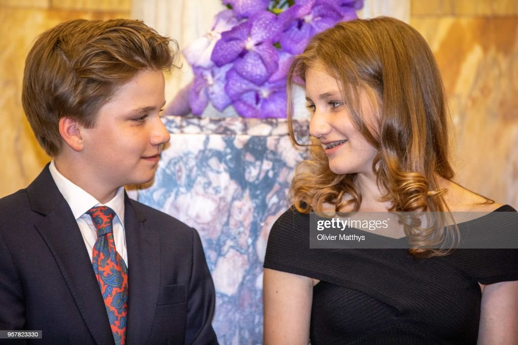Princess Elisabeth of Belgium and Prince Gabriel attend the finals of the Queen Elisabeth Contest in the Bozar on May 12, 2018 in Brussels, Belgium.