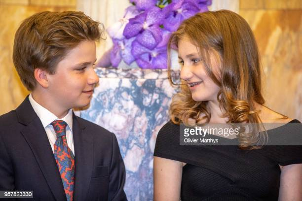 Princess Elisabeth of Belgium and Prince Gabriel attend the finals of the Queen Elisabeth Contest in the Bozar on May 12 2018 in Brussels Belgium