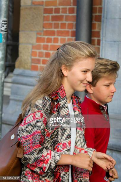Princess Elisabeth of Belgium and Prince Gabriel of Belgium arrive at the St John Bergmans college to attend the first day of school on September 1...