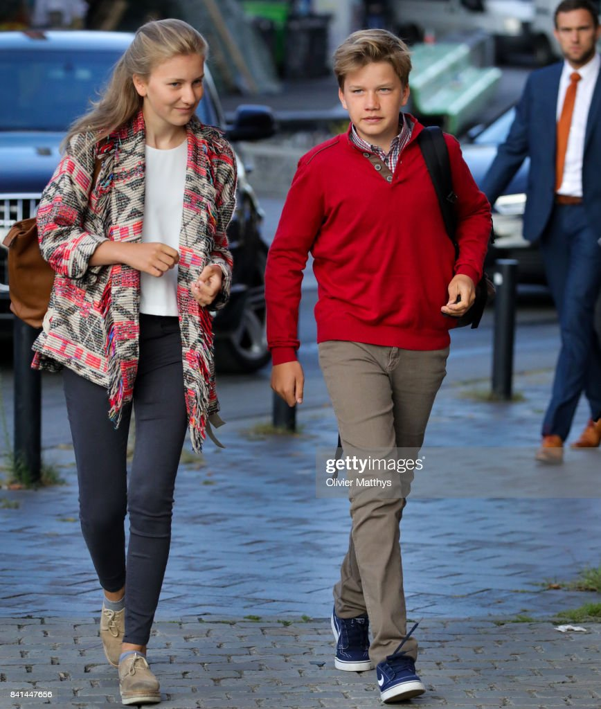 Princess Elisabeth of Belgium and Prince Gabriel of Belgium arrive at the St John Bergmans college to attend the first day of school on September 1, 2017 in Brussels, Belgium.