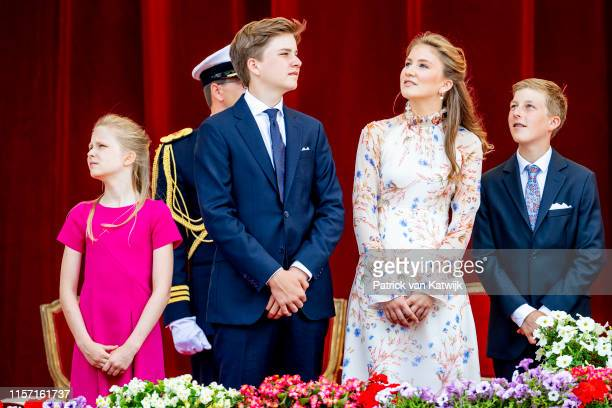 Princess Elisabeth of Belgium and Prince Gabriel of Belgium attend the military parade during Belgian National Day on July 21 2019 in Brussels Belgium