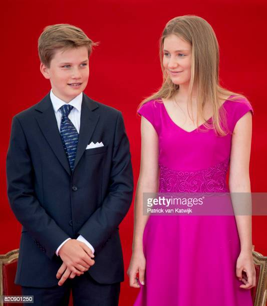 Princess Elisabeth of Belgium and Prince Gabriel of Belgium attend the military parade on the occasion of the Belgian National Day in the front of...