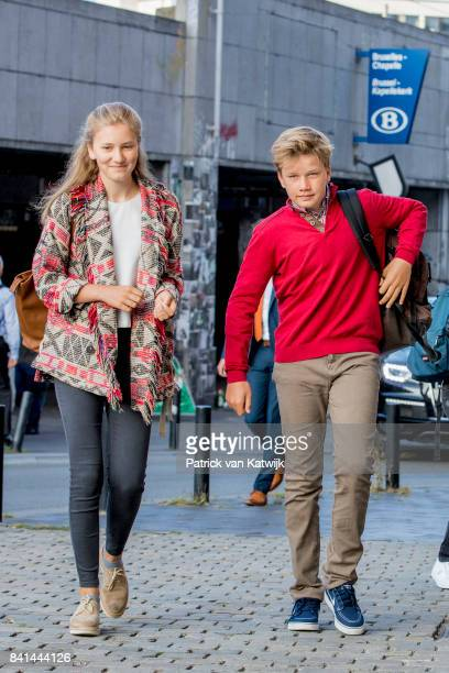 Princess Elisabeth of Belgium and Prince Gabriel of Belgium go to school at the SintJanBerchmanscollege after the summer vacation on September 1 2017...