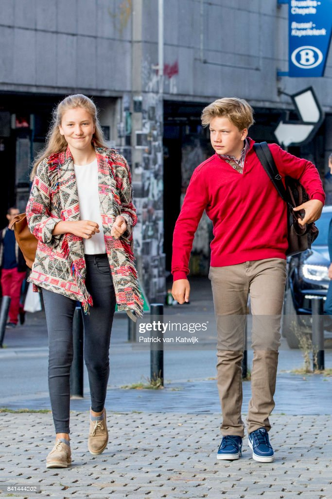 Princess Elisabeth of Belgium and Prince Gabriel of Belgium go to school at the Sint-Jan-Berchmanscollege after the summer vacation on September 1, 2017 in Brussels, Belgium.