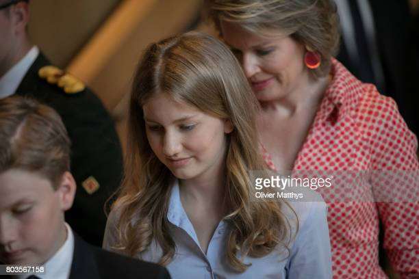 Princess Elisabeth of Belgium and Queen Mathilde of Belgium arrive at the Music Chapel where Queen Paola invites to celebrate her 80th anniversary on...