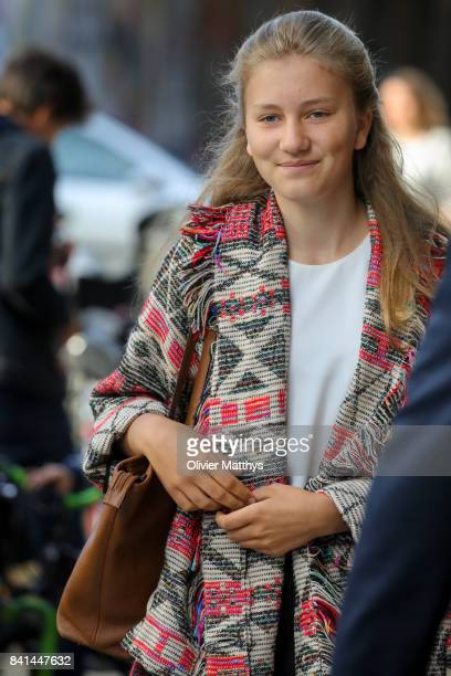 Princess Elisabeth of Belgium arrives at the St John Bergmans college to attend the first day of school on September 1 2017 in Brussels Belgium