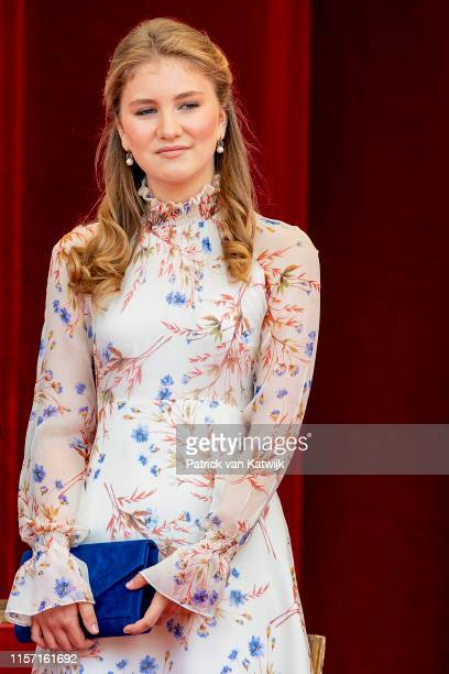 Princess Elisabeth of Belgium attends the military parade during Belgian National Day on July 21, 2019 in Brussels, Belgium.