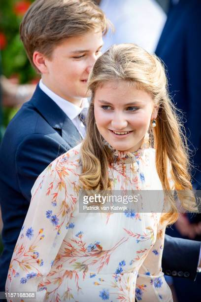 Princess Elisabeth of Belgium attends the military parade during Belgian National Day on July 21 2019 in Brussels Belgium