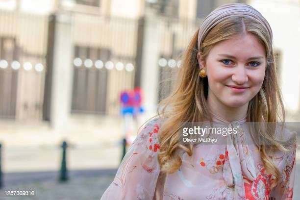 Princess Elisabeth of Belgium attends the Te Deum which takes place on the occasion of the National Day in the Cathedral of Saints Michel-et-Gudule...