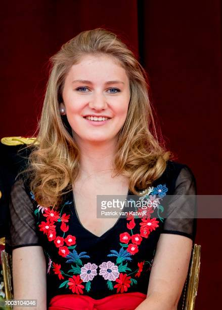 Princess Elisabeth of Belgium during the military parade at the National Day on July 21 2018 in Brussels Belgium