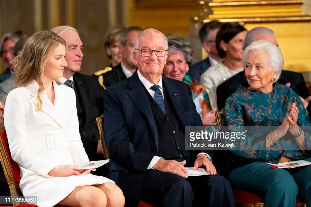Princess Elisabeth of Belgium King Albert of Belgium and Queen Paola of Belgium during the 18th birthday celebration of the Crown Princess in the...
