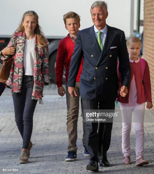 Princess Elisabeth of Belgium Prince Gabriel of Belgium King Philippe of Belgium and Princess Eleonore of Belgium arrive at the St John Bergmans...