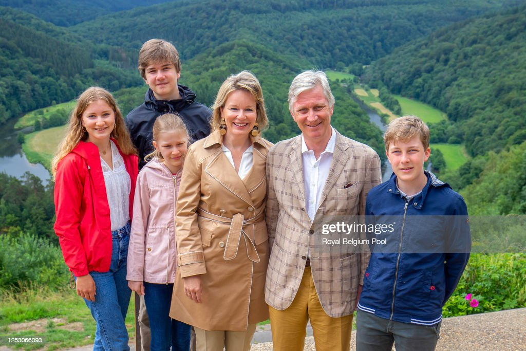 King Philippe Of Belgium And Family Visit A Touristic Spot In The Province Of Luxembourg : News Photo