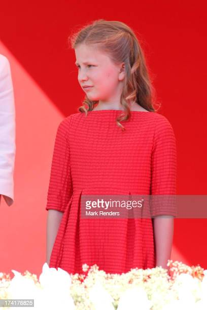 Princess Elisabeth of Belgium seen at the Civil and Military Parade during the Abdication Of King Albert II Of Belgium Inauguration Of King Philippe...