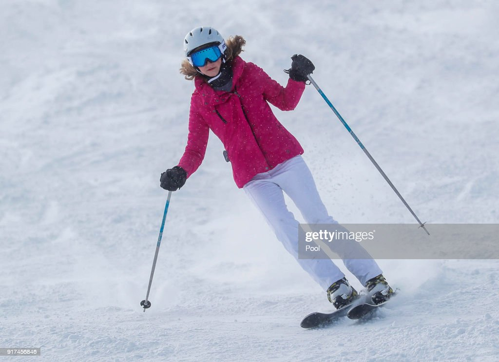 Princess Elisabeth of Belgium skies during a family holiday in the village of Verbier on February 12, 2018 in Verbier, Switzerland.