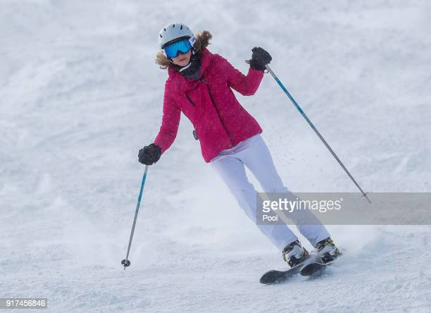 Princess Elisabeth of Belgium skies during a family holiday in the village of Verbier on February 12 2018 in Verbier Switzerland