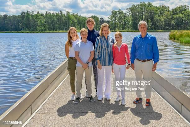 Princess Elisabeth of Belgium,Prince Emmanuel of Belgium,Prince Gabriel of Belgium, Queen Mathilde of Belgium, Princess Eleonore of Belgium and King...