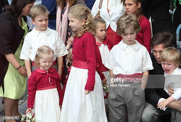 Princess Elisabeth, Prince Emmanuel, Prince Gabriel and Princess Eleonore of Belgium during the wedding of Countess Helene d'Udekem d'Acoz and Baron...