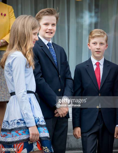 Princess Elisabeth Prince Gabriel and Prince Emmanuel of Belgium attend the 80th birthday celebrations of Belgian Queen Paola on June 29 2017 in...