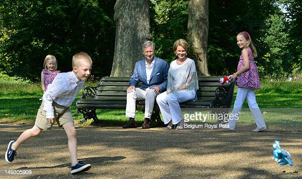 Princess Elisabeth Prince Gabriel Prince Philippe Princess Eleonore and Princess Mathilde of Belgium pose for a photo during a visit to central...