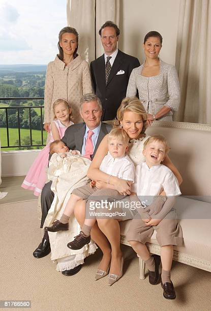 Princess Elisabeth, Prince Philippe holding baby Princess Eleonore of Belgium, Princess Mathilde with Prince Emmanuel and Prince Gabriel, Princess...