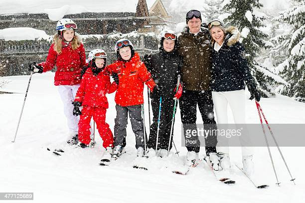 Princess Elisabeth Princess Eleonore Prince Emmanuel Prince Gabriel King Philippe and Queen Mathilde of Belgium pose for a photograph during their...