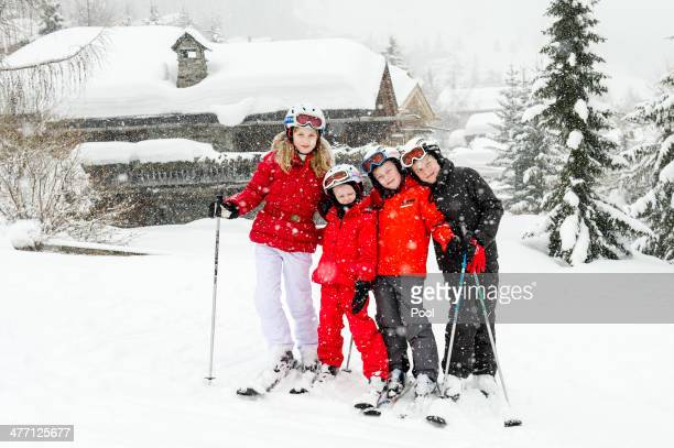 Princess Elisabeth Princess Eleonore Prince Gabriel and Prince Emmanuel of Belgium pose for a photograph during their winter holidays on March 3 2014...