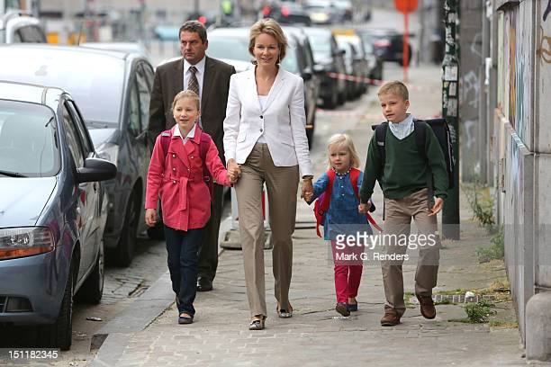 Princess Elisabeth Princess Mathilde Princess Eleonore and Prince Gabriel of Belgium attend first day of school at Sint Jan Berghmans College on...