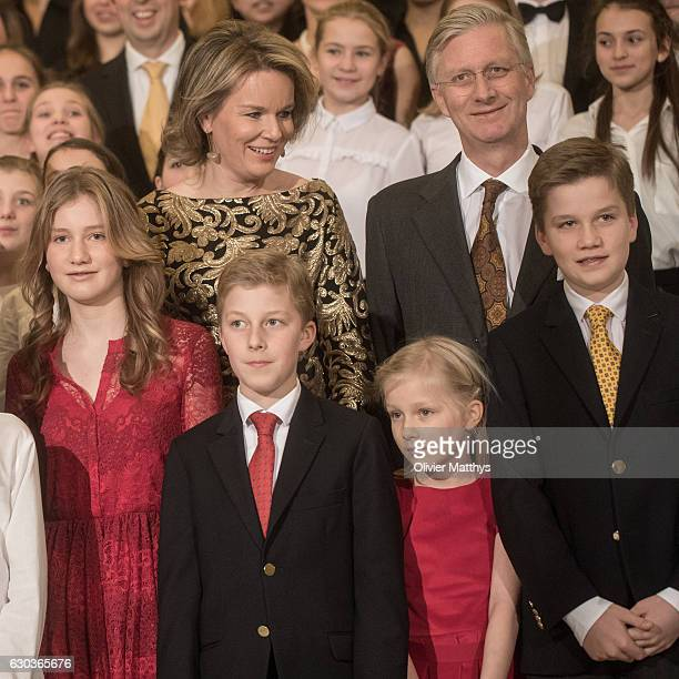Princess Elisabeth Queen Mathilde of Belgium Prince Emmanuel Princess Eleonore King Philip of Belgium and Prince Gabriel attend the Christmas Concert...