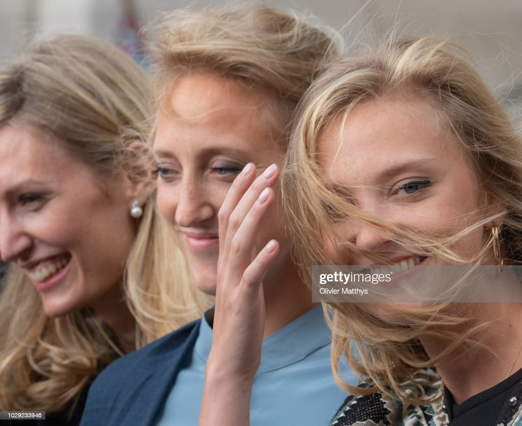Princess Elisabetta von Rosboch Wolkenstein, Princess Maria Laura of Belgium and Princess Louisa Maria of Belgium leave a the mass to remember the 25th anniversary of the death of King Baudouin at Notre Dame Church on September 8, 2018 in Laeken, Belgium.