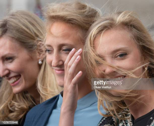 Princess Elisabetta von Rosboch Wolkenstein Princess Maria Laura of Belgium and Princess Louisa Maria of Belgium leave a the mass to remember the...