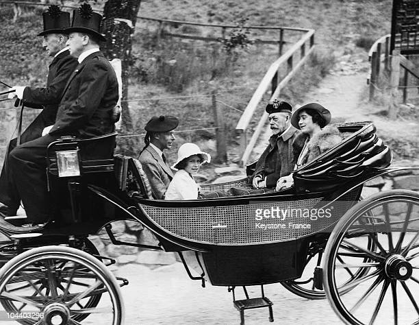 Princess ELIZABETH accompanies King GEORGE VI and the Duchess of YORK to service at Crathie Church.