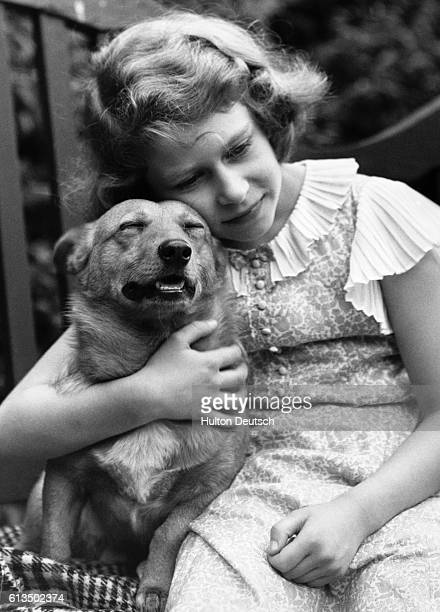 Princess Elizabeth aged 10 with her pet dog London