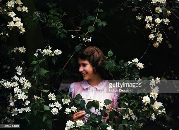 Princess Elizabeth, aged 15, poses amidst the syringa bushes at Windsor.