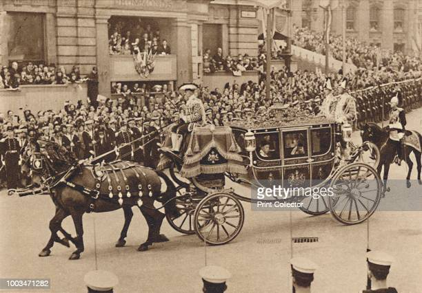 Princess Elizabeth and her cousin Lord Lascelles, in the royal carriage-procession from the Palace. They were with the Princess Royal', May 12 1937....