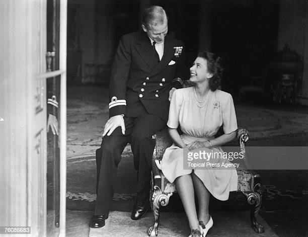 Princess Elizabeth and her fiance Philip Mountbatten at Buckingham Palace after their engagement was announced 10th July 1947