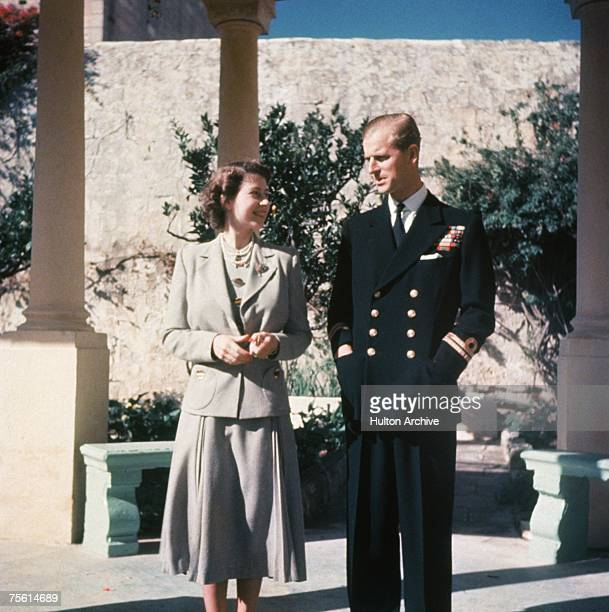 Princess Elizabeth and her husband Prince Philip, Duke of Edinburgh at the Villa Guardamangia in Malta, where he is stationed with the Royal Navy,...