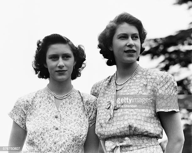 Princess Elizabeth and her sister Princess Margaret at the Royal Lodge, Windsor, UK, 8th July 1946.
