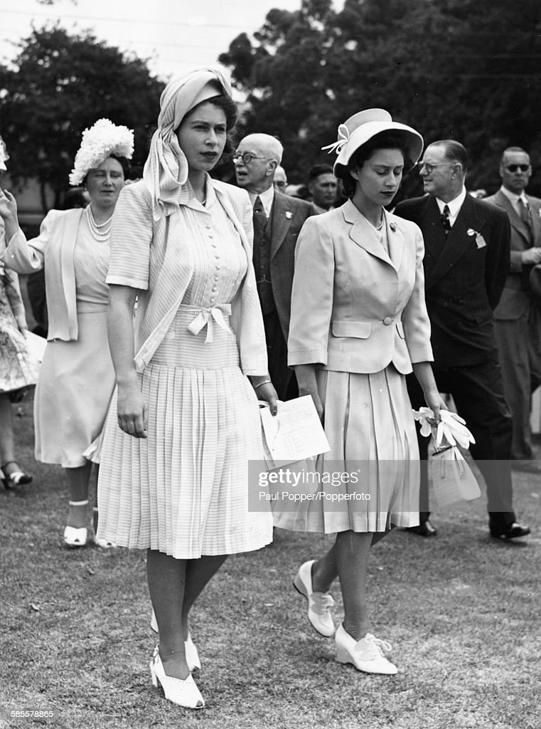 Princess Elizabeth Left And Her Sister Margaret Followed By Their Mother Queen