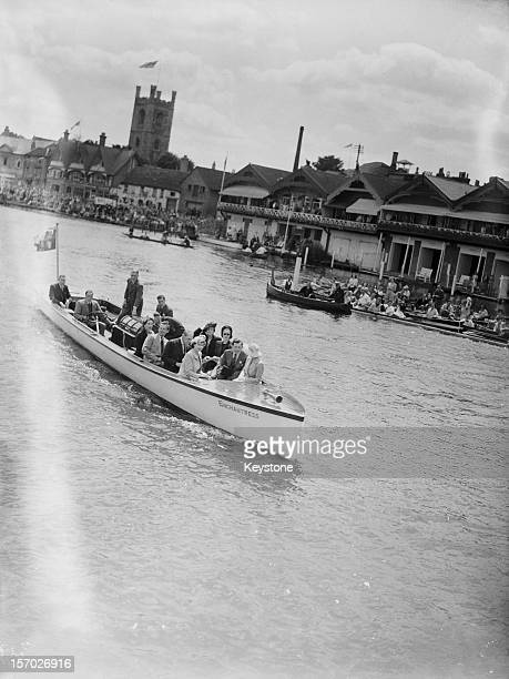 Princess Elizabeth and her sister Princess Margaret on board the Royal Launch during Henley Royal Regatta HenleyonThames Oxfordshire 6th July 1946