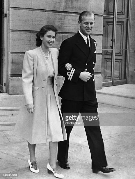 Princess Elizabeth and naval Lieutenant Philip Mountbatten photographed for the first time since the announcement of their engagement 10th July 1947