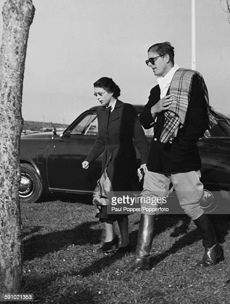 Princess Elizabeth and Prince Philip Duke of Edinburgh both pictured wearing sunglasses as they leave the Rome Polo Club grounds after the Duke...