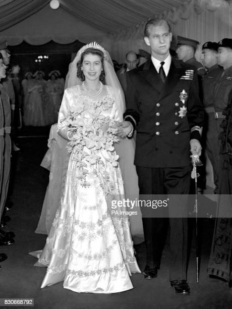 Princess Elizabeth and the Duke of Edinburgh as they leave Westminster Abbey after their marriage ceremony.