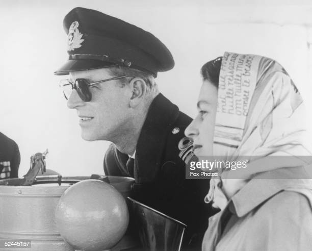 Princess Elizabeth and the Duke of Edinburgh on board the destroyer Crusader bound for Victoria in British Columbia during their Commonwealth tour...