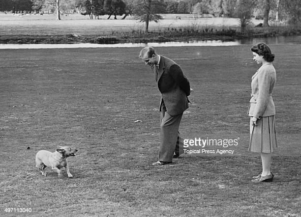 Princess Elizabeth and the Duke of Edinburgh playing with the Princess's pet corgi Susan at Broadlands in Hampshire during the start of their...