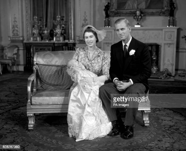 Princess Elizabeth and the Duke of Edinburgh with their baby daughter Princess Anne after the christening at Buckingham Palace London The baby given...