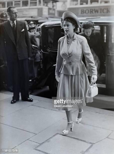 Princess Elizabeth arrives at the International Wool Secretariat Exhibition at Dorland House, London on June 7, 1948. Princess Elizabeth was four...