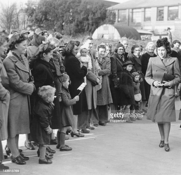 Princess Elizabeth arriving in Baldock Hertfordshire 11th March 1946 She is in Baldock to visit a factory making nylon stockings